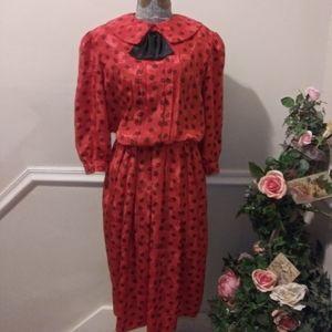 VGUC Vtge. 80's Raoul Red & Black Secretary Dress
